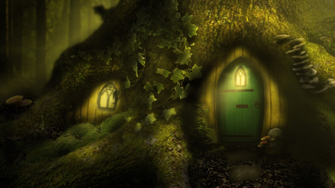 Matte paintings of a u0026quot;tree houseu0026quot; in an enchanted forest.
