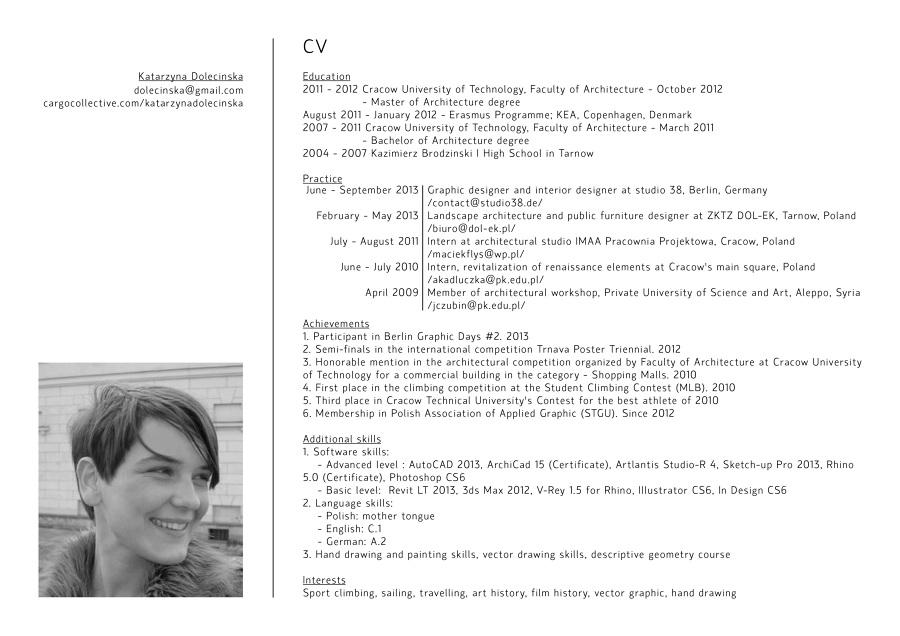 CV - Katarzyna Dolecińska: cargocollective.com/katarzynadolecinska/CV